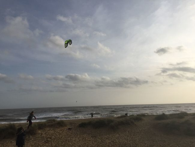 Beach Beauty In Nature Cloud - Sky Clouds Clouds And Sky Enjoyment Extreme Sports Flying Horizon Over Water Kite Kitesurfing Leisure Activity Lifestyles Men Nature Sand Scenics Sea Shore Sky Southwold Vacations Water Winter