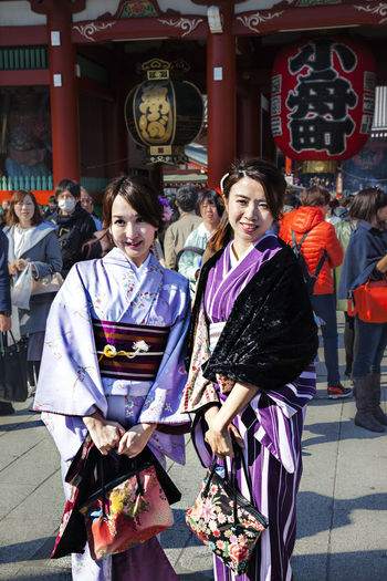 Mimono Apparel Casual Clothing Colorful Female Kimono Leisure Activity Lifestyles National Costume Outdoors Tour Tourism Tourist Destination Travel Vertical Composition Arts Culture And Entertainment Cultures Girl Happiness Spring