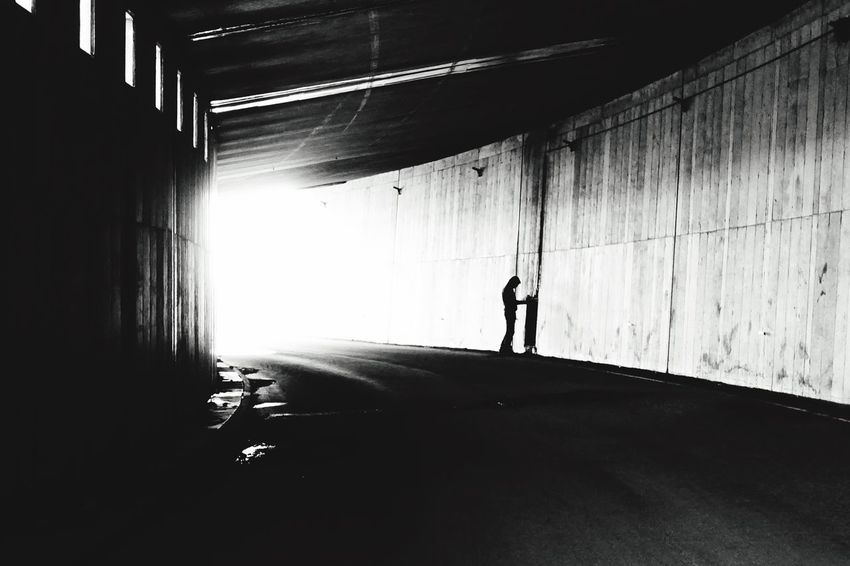 Lonely road. Full Length Real People One Person Silhouette Indoors  Architecture Shadow Lifestyles Built Structure Sunlight Day Leisure Activity Standing Men Adult People Blackandwhite Blackandwhite Photography Black And White Iceland Iceland_collection EyeEm Best Shots Lonely Highway Abondoned