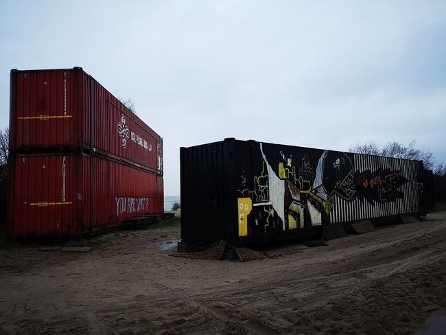 Containers Cargo Container Sky Graffiti Street Art Hip Hop Shutter Storage Compartment Container Ship Freight Transportation Spray Paint Art Aerosol Can Pallet