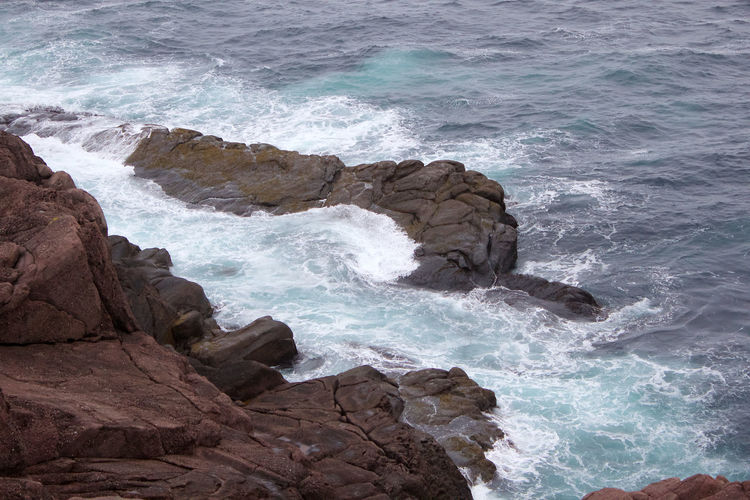 Newfoundland Beauty In Nature Motion Outdoors Rock Rock - Object Rock Formation Rocky Coastline Scenics - Nature Sea Solid Water Wave
