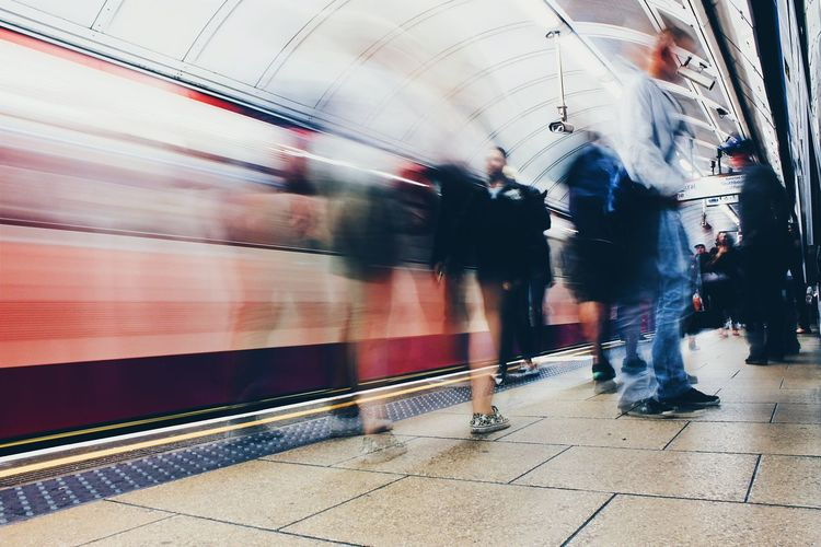 TakeoverContrast Blurred Motion Transportation Motion Railroad Station Public Transportation On The Move Rail Transportation Train - Vehicle Walking Railroad Station Platform Subway Station Men Speed Mode Of Transport Travel Group Of People Public Transport Journey Subway Platform EyeEmNewHere