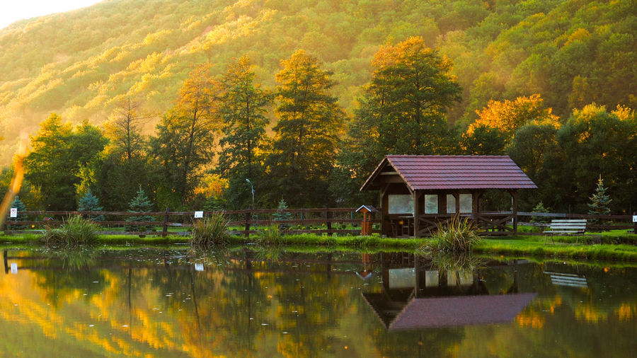 Peaceful autumn Autumn Autumn colors Forest Sunset Sunset_collection Cabin Cabin In The Woods Colorful EyeEm Nature Lover Tree Water Lake Reflection Sky Building Exterior Plant Orange Color Autumn Collection