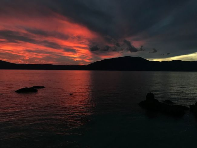 Albania Radhime #Radhime Sunset Mountain Beauty In Nature Scenics Nature Tranquil Scene Dramatic Sky Tranquility Cloud - Sky Silhouette No People Sea Outdoors Water Mountain Range Sky Day