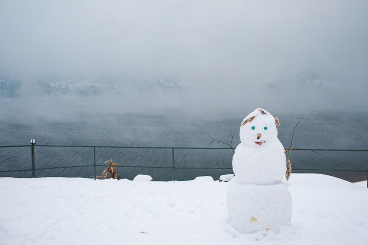 Snowman on snow covered land