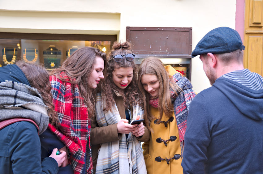 Saint Casimir's Fair Communication Friendship Fun Group Of People Happiness Lifestyles Men Mobile Phone People Portable Information Device Smart Phone Technology Togetherness Wireless Technology Women Young Women