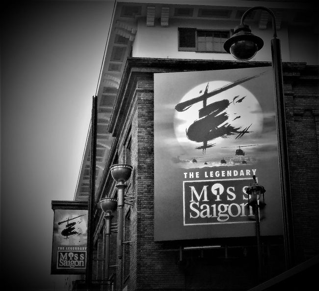 Here is a shot of Miss Saigon which is s Stage Musical in the Westend of London, (Black and White) Architecture Black & White Black And White Black And White Collection  Black And White Photography Blackandwhite Photography Built Structure Communication Day Guidance London London Lifestyle London Trip London_only Londonlife Londononly LONDON❤ Low Angle View Musical Theatre No People Outdoors Road Sign Text Westend London Western Script