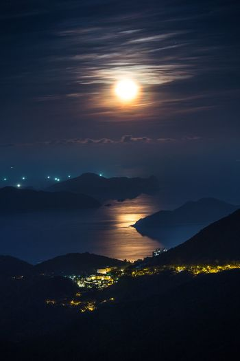 Moon Sky Night Sea Scenics - Nature Water Beauty In Nature Nature Environment Cloud - Sky Beach Land