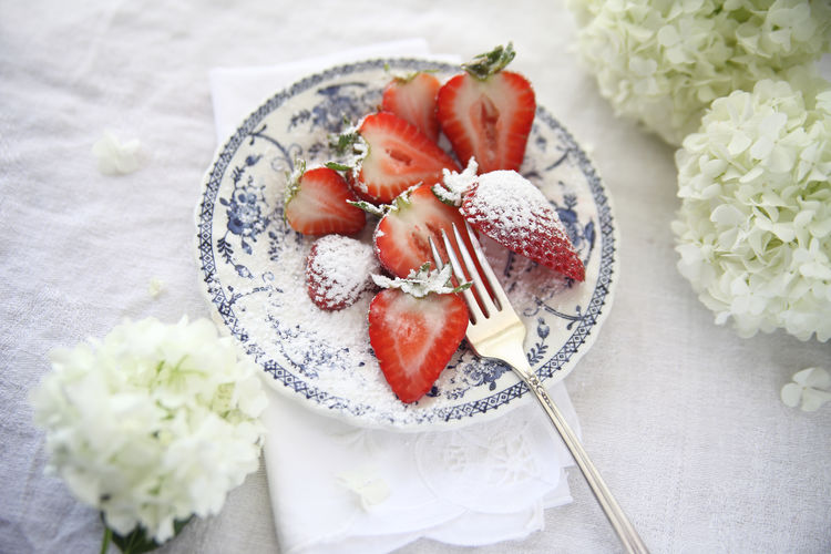 Dish of strawberries with powdered sugar and fresh white hydrangea flowers Copy Space Decorative Dish Delicious Dessert Floral Food Fork Fresh Fruit Hydrangeas Indulgence Napkin Natural Light Overhead Powdered Sugar Ready-to-eat Red Serving Size Spring Strawberries Sweet Food Temptation White Flowers