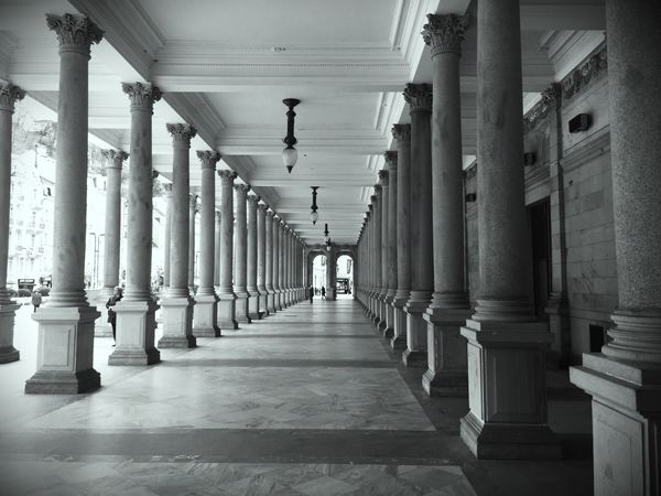 Architectural Column Corridor Architecture Passageway The Way Forward In A Row Diminishing Perspective Indoors  History Built Structure Passage Pillar Day No People Blackandwhite Black And White Black & White
