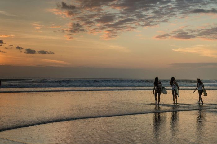Sea Beach Sunset People Sand Water Beatiful Light INDONESIA Bali Travel Destinations Waves Surfing Surfgirl