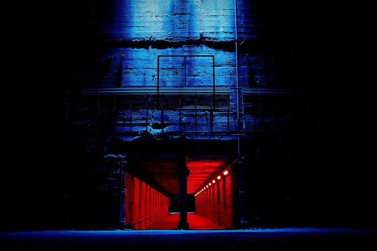 Lighted Hallway Blue Light Red Light Night Old Found this special hallway in Landschaftspark Duisburg at night