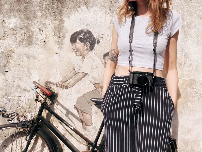 Adventures In The City George Town Street Art Tourist Bicycle Standing Summer Adult Women Day City