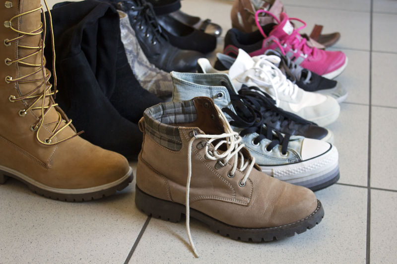 Shoe Pair Indoors  Flooring Shoelace Boot Fashion Tiled Floor Personal Accessory Mode, Woman Women Shoes Shoesinaline Shoes In A Line Shoes In A Row Shoesing Sneakers Boots Collection Wardrobe Winter Fall Autumn