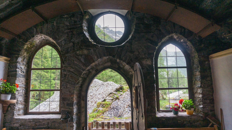 Trees seen through arch window of historic building