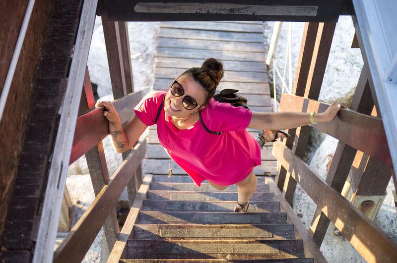 High angle view of woman on steps