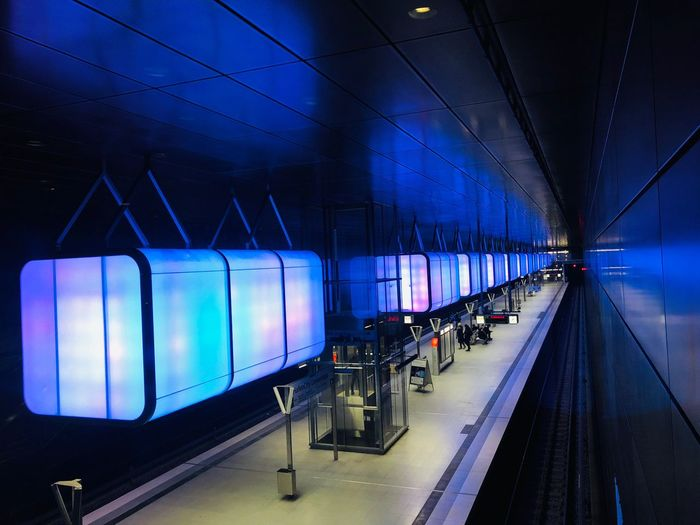 U-Bahn Station HafenCity Wm2019 Light And Shadow Hafencity Illuminated Transportation Night Rail Transportation Blue Public Transportation No People Mode Of Transportation In A Row Travel Architecture Railing Diminishing Perspective Railroad Station Built Structure Lighting Equipment Indoors  Train Light Ceiling