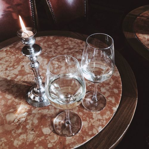 Wine Wine Moments Candle Marble Viennese Viennese Cafe Drinking Glass No People Table Wineglass Indoors  Close-up Day