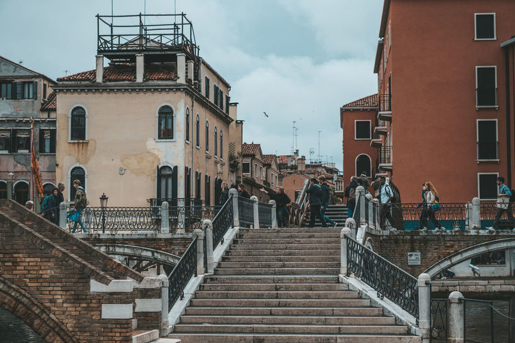 Venice Architecture Built Structure Building Exterior Staircase Railing Steps And Staircases Sky Real People City Cloud - Sky Building Group Of People Lifestyles Men Day Nature People Adult Women Residential District Outdoors Vertebrate