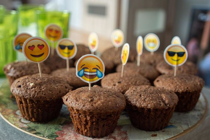 EyeEm Gallery Baked Birthday Cake Emoji Focus On Foreground Food Food And Drink Indulgence Muffin No People Ready-to-eat Snack Sweet Sweet Food Table