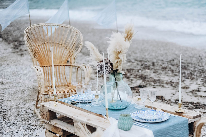 Decorating table for couple in the beac