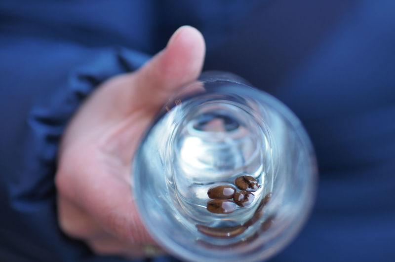 Close up of coffee beans in glass
