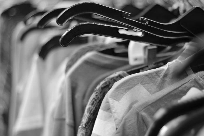 Black and white fashion Clothes Salvation Army Fashion Charity Clothing Clothing Store Retail  Coathanger Store Choice Variation Indoors  Textile Consumerism Hanging Boutique Close-up