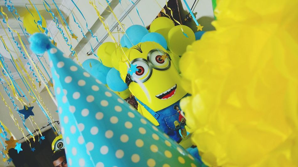 Indoors  Yellow Party - Social Event Disguise Minions ♥♥ Minionrush Despicableme Despicableme2 Minions Minion Love Minionparty Party Time Clown Fun No People
