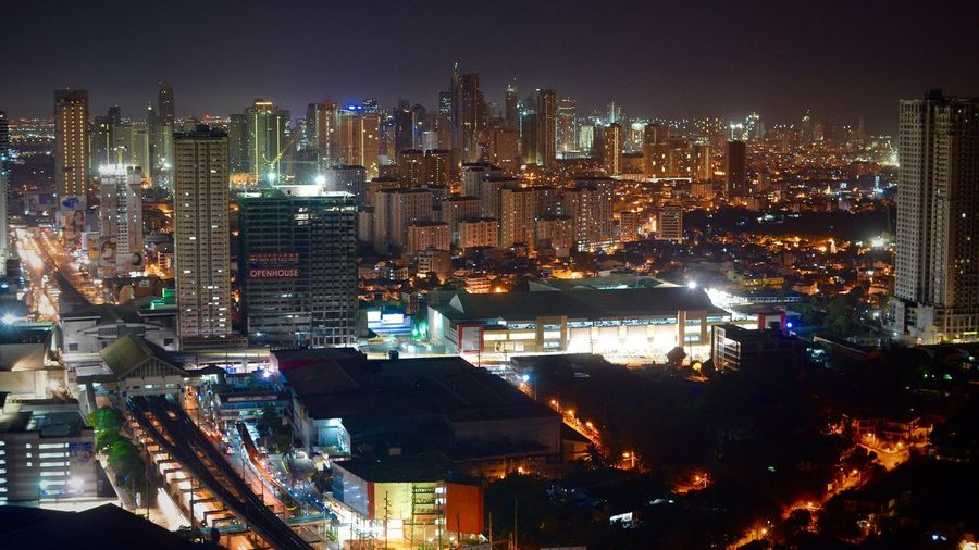 Night Cityscape Skyscraper City Illuminated Urban Skyline Architecture High Angle View City Life Modern Travel Destinations Downtown District Building Exterior Outdoors No People Nightlife Sky Neon Manila, Philippines