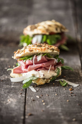 Close-up of sandwich served on table
