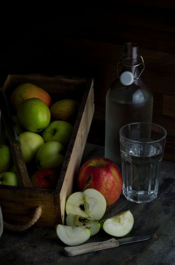 Fruit Food And Drink Bottle Drink Drinking Glass Black Background Apple - Fruit Food Foodphotography Vitamin Nature Apples предметнаясъемка Еда фрукты Vegetable фотоеды бокал яблоки фудфото