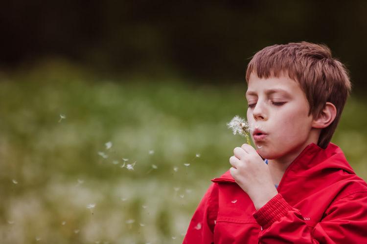 Boy blowing dandelion flower in forest
