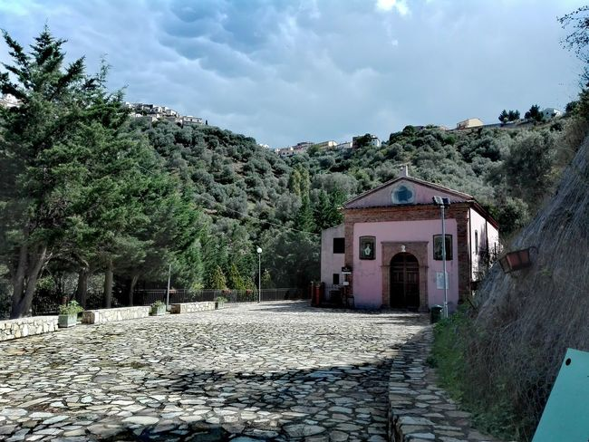 Calabria (Italy) Calabriadascoprire Sky Outdoors Day Tree Building Exterior Cloud - Sky Built Structure No People Architecture Nature Church Pink Italy 🇮🇹 My Own Photography Huawei P8 Lite Scenics No Edit/no Filter No Filter, No Edit, Just Photography Beauty In Nature