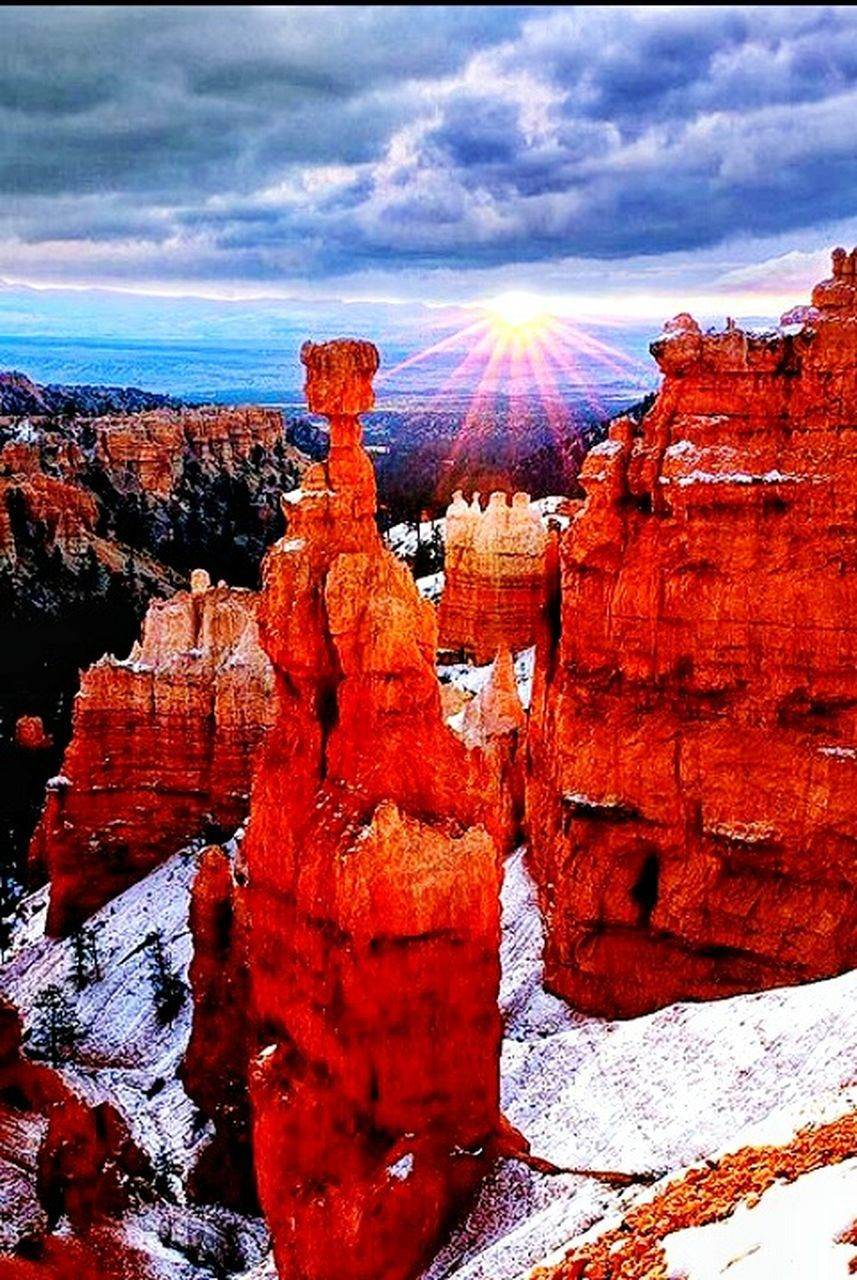 rock formation, rock - object, geology, cloud - sky, nature, beauty in nature, sunlight, outdoors, red, day, scenics, travel destinations, rock hoodoo, tranquility, no people, sky, physical geography, landscape