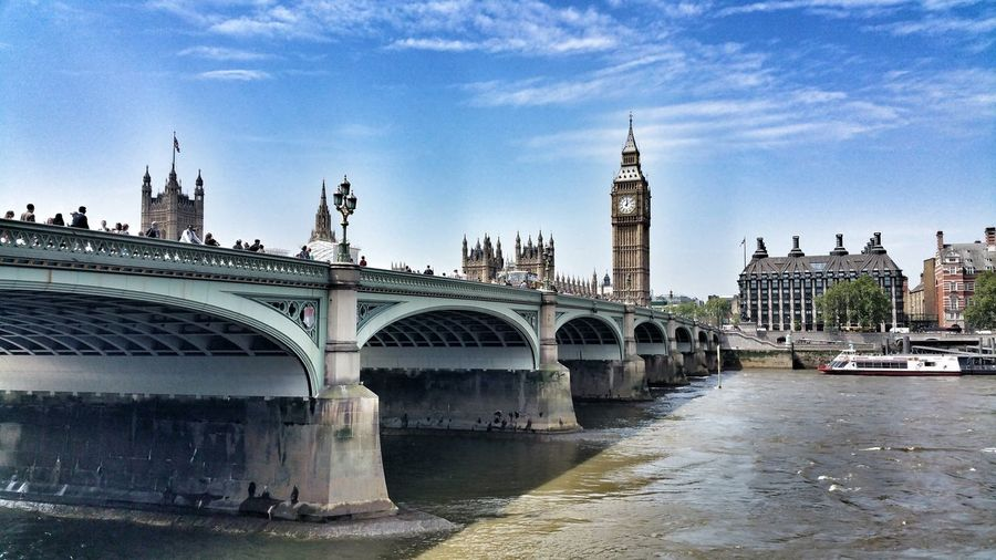 Westminster bridge over thames river against big ben in city