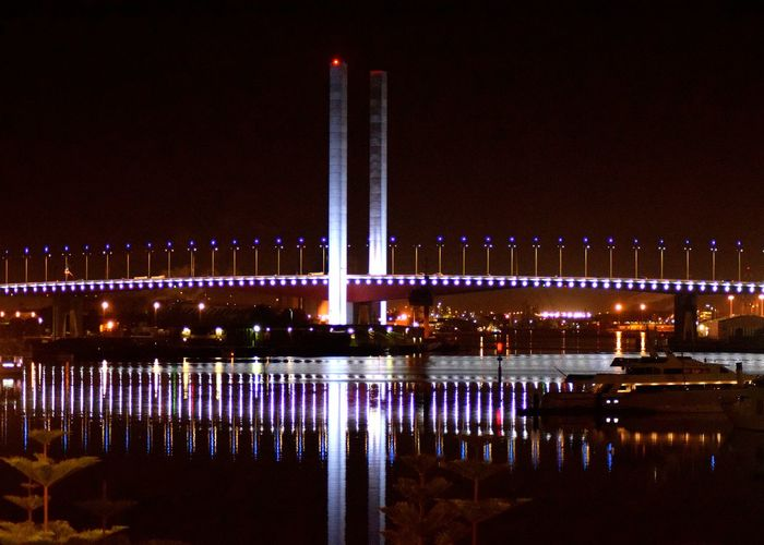 Bolte Bridge Architecture Building Exterior Built Structure City Illuminated Night No People Outdoors Reflection Sky Travel Destinations Water
