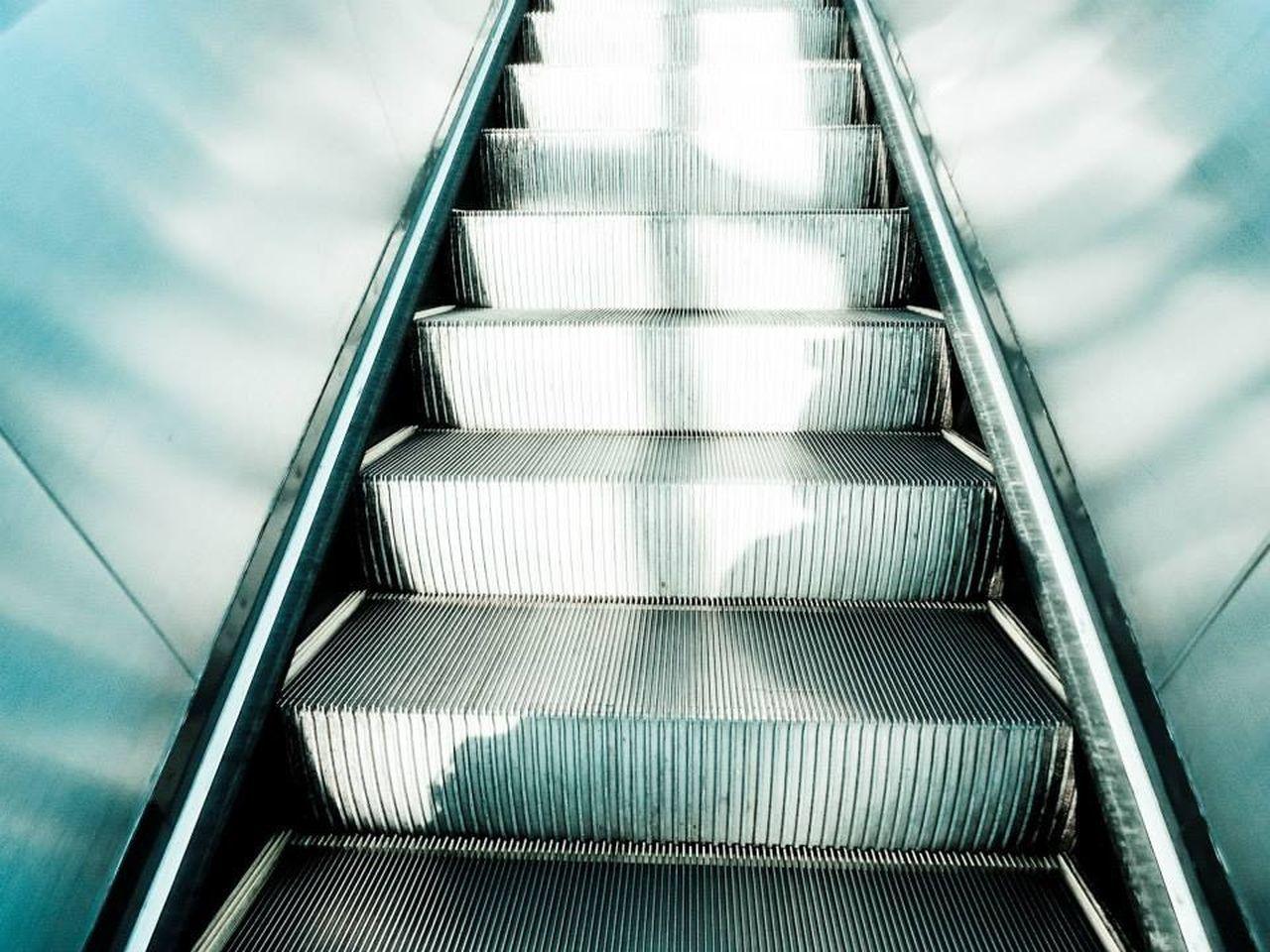 High Angle View Of Escalator
