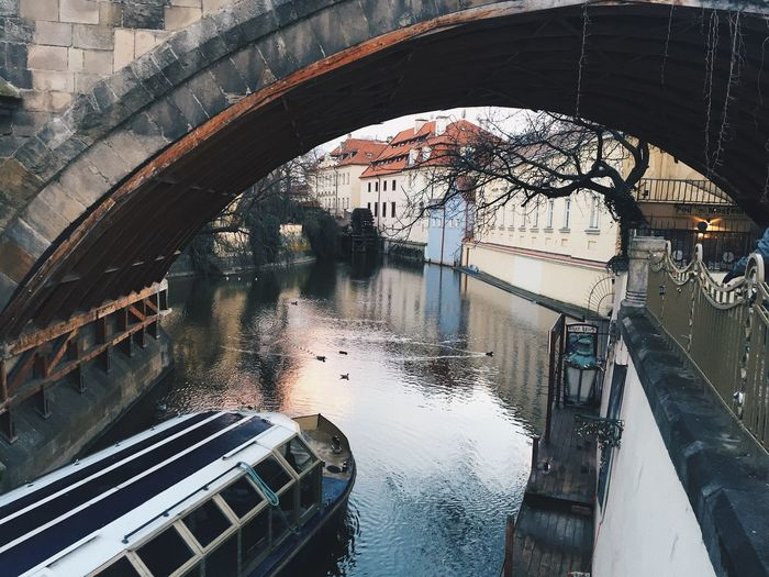 Lovely Prague Grunge Boat Romantic Reflection Water Built Structure Architecture Wet Glass - Material Day