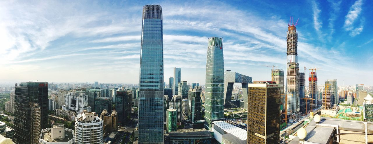 Beijing GUOMAO CBD Skyscraper Architecture Building Exterior City Modern Cityscape Tall - High Built Structure Tower Urban Skyline Sky Travel Destinations Development Downtown District Financial District  Growth Day No People Cloud - Sky Outdoors Neighborhood Map