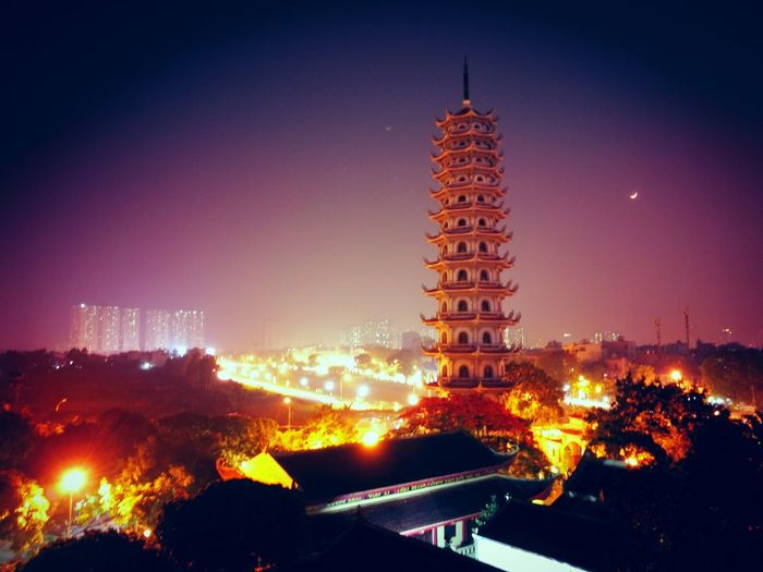 Night Holiday - Event Illuminated City No People Architecture Outdoors Buddhas Buddha Temple; Pagoda Area Cloud - Sky Neon