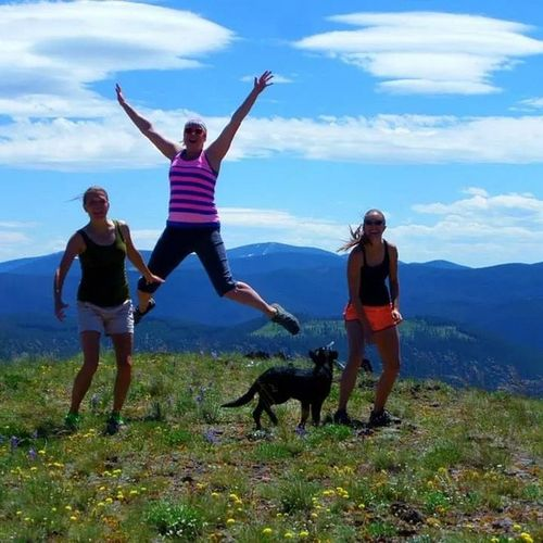 Kristen can fly! We tried doing my timer photo on my camera but it didn't work so well. Jumpjumpjumparound Bestdayever Girlsdayout Hiking Montana