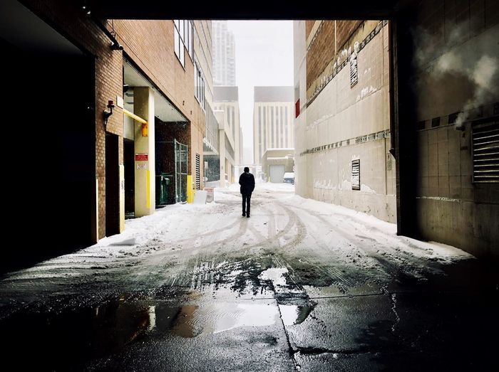 Winter Architecture One Person Built Structure Rear View Building Exterior Real People Building Day Men City Nature Outdoors Street Alley Silhouette First Eyeem Photo