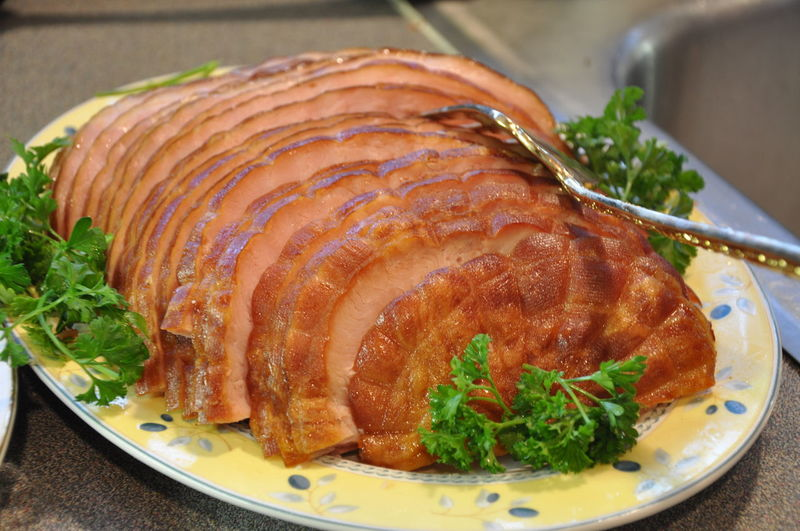 Close-Up Od Sliced Turkey With Cilantro Served In Plate