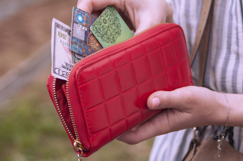 Midsection of woman with paper currency and credit cards in red purse
