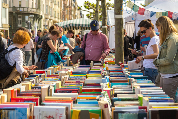 Buechermeile, Duesseldorf, Germany Book Books Business Bücher  Everything In Its Place Large Group Of Objects Market Secondhand Street Photography