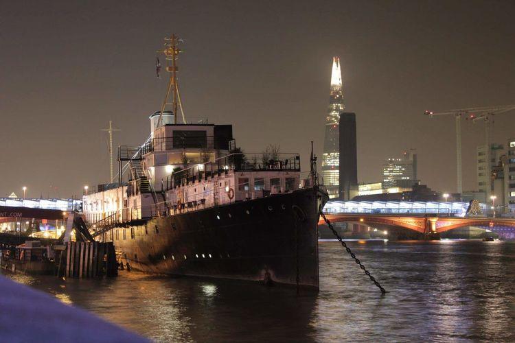 London HMS President The Shard Thames River Night London Colour Of Life