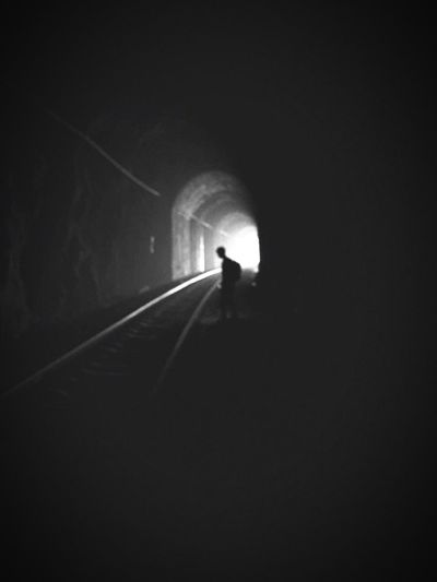 Check This Out That's Me Black & White L&D Dark Photography Darkness Darkness And Light Black Imprisoned Despair Hopeless T ra Train Train Tracks