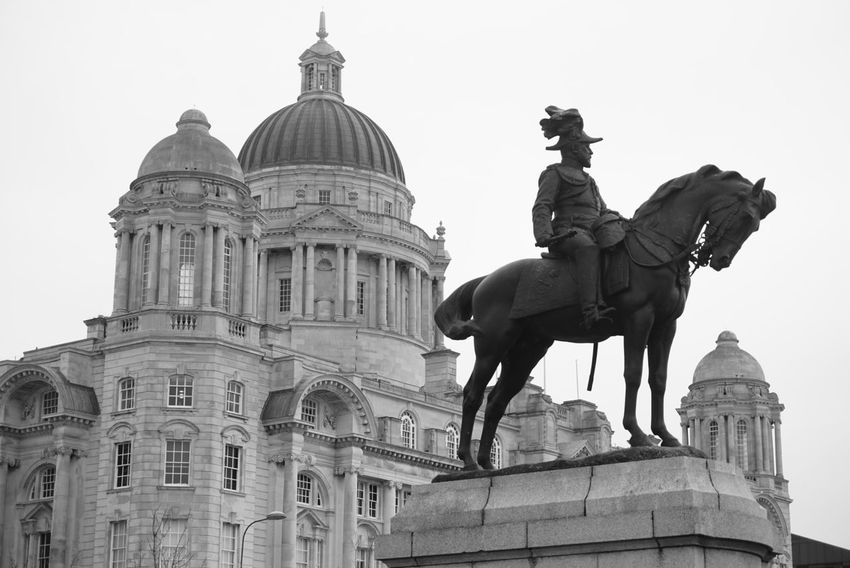 King George V at Pier Head, Liverpool Walking Around Black And White Photography Bw Monochrome _ Collection Black & White Statue Lover Statue Liverpool, England Taking Photos Sony A5000 Architecture_bw Architecture Port Of Liverpool Building Showcase : January