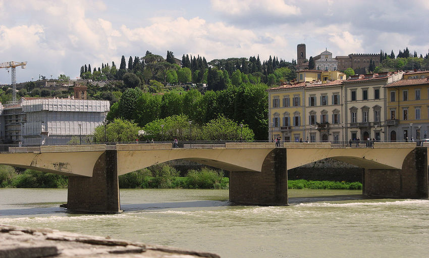 Architecture Bridge Building Building Exterior Built Structure City Cloud Cloud - Sky Day Firence Green Color Italy Nature No People Outdoors River River Arno Sky Travel Destinations Tree
