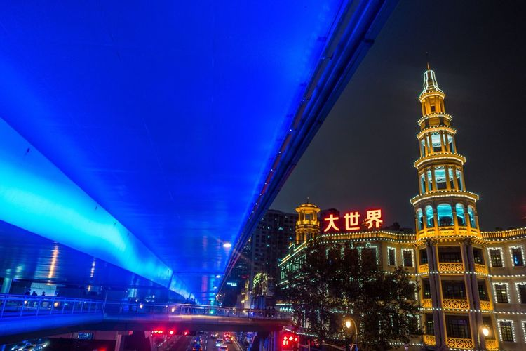 Street Lights... Built Structure Architecture Building Exterior Night Illuminated Building Travel Destinations City No People Travel Lighting Equipment Blue Low Angle View Bridge Capture Tomorrow